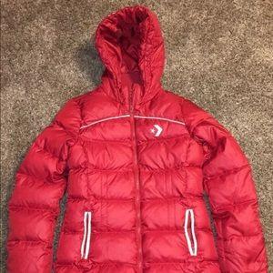 Women's Red Converse Winter Bubble Puffer Coat Zip